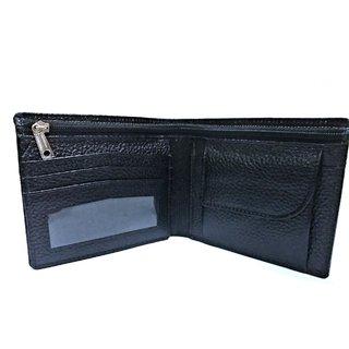 Garun Black Styles Pure Leather Single fold Zip Wallet For Men