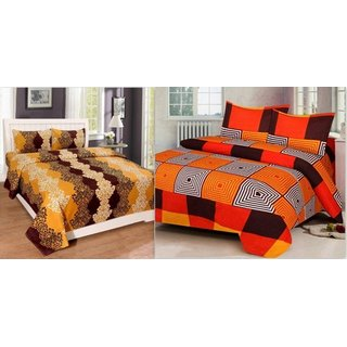 Attractivehomes Beautiful 2 Poly Cotton Bedsheets With 4 Pillow Covers (Combo Of 2)