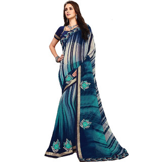 Prayucha Enterprises Women's Embroidery Work Saree With Blouse Piece 6 Mtr Multi-Coloured