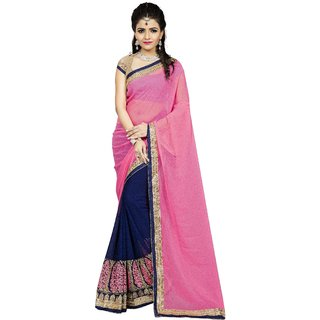 38725f93a2d Buy Vedant Vastram Women s Georgette Embroidered Saree With Blouse Piece ( Pink   Blue Colour) Online - Get 52% Off