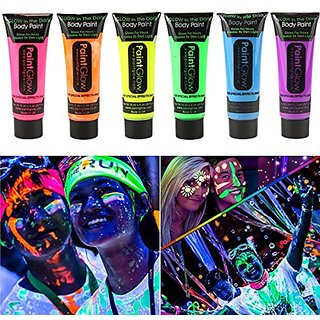 Smartcraft Face Colour Paint (Pack of 6) UV Blacklight Reactive Glow In Dark Face and Body Paint  Set of 6 Tubes Neon