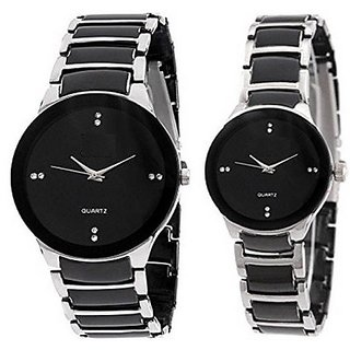 Varni Retail Silver Dial IIK Metal Strap Men And Women Watch For Couple