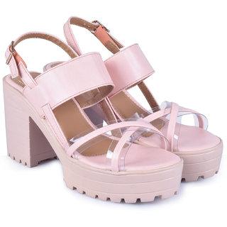 Trendy Look Peach Heeled Sandals