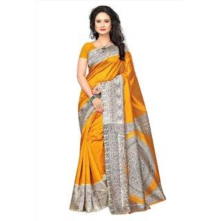 Womaniya Online Designer Yellow  Cream Art Silk Saree