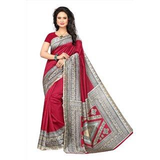 Womaniya Online Designer Red  Beige Art Silk Saree