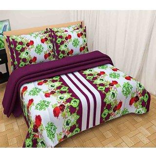 The Intellect Bazaar 100% Polyester 3D Designer Printed Double Bedsheet,Wine
