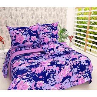 The Intellect Bazaar 100% Polyester 3D Designer Printed Double Bedsheet,Blue