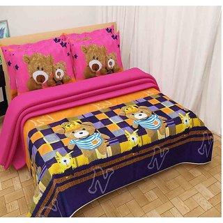 The Intellect Bazaar 100% Polyester 3D Designer Printed Double Bedsheet,Pink