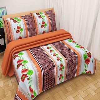 The Intellect Bazaar 100% Polyester 3D Designer Printed Double Bedsheet Brown