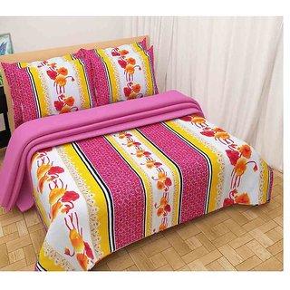The Intellect Bazaar 100% Polyester 3D Designer Printed Double Bedsheet Pink