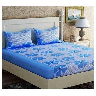 The Intellect Bazaar 100% Polyester 3D Designer Printed Double Bedsheet Blue