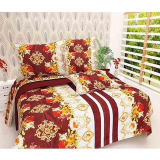 The Intellect Bazaar 100% Polyester 3D Designer Printed Double Bedsheet Maroon