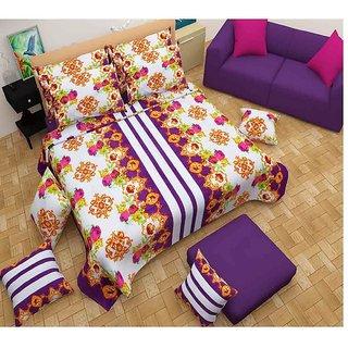 The Intellect Bazaar 100% Polyester 3D Designer Printed Double Bedsheet Purple