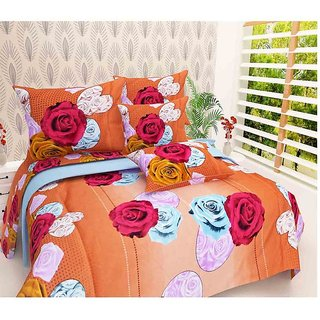 The Intellect Bazaar 100% Polyester 3D Designer Printed Double Bedsheet Orange