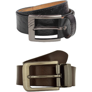 Exotique Men's Black  Brown Formal Belt Combo (EC0048MU)