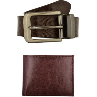 Exotique Men's Brown Formal Belt  Wallet Combo (EC0049BR)