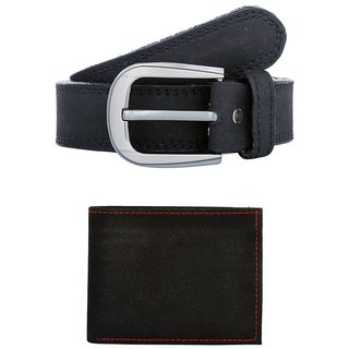 Exotique Mens Black Casual Belt Wallet Combo (EC0052BK)