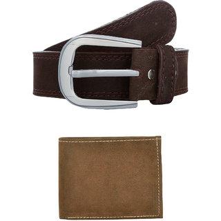 Exotique Men's Brown Casual Belt  Wallet Combo (EC0052BR)