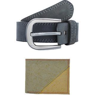 Exotique Mens Grey Casual Belt Wallet Combo (EC0052GY)