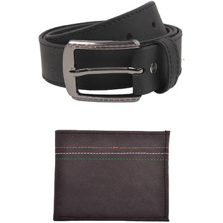 Exotique Mens Black Casual Belt Wallet Combo (EC0053BK)