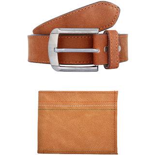 Exotique Mens Brown Casual Belt Wallet Combo (EC0053TN)