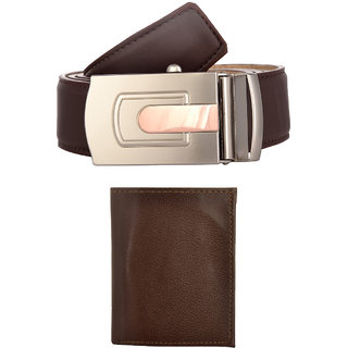 Exotique Mens Brown Casual Belt & Wallet Combo (EC0054BR)