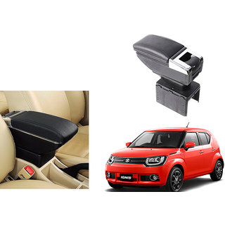 Himmlisch Car Stylish Armrest with Glass Holder+Ashtray Black For Maruti Suzuki Ignis