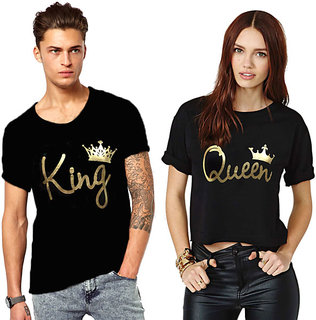 King and Queen Couple Combo Cotton Tees (Pack of 2)