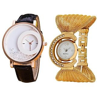 Black Simple Diamond Dial Leather Gold Zula Metal Analog Watch For Women Girls Pack Of