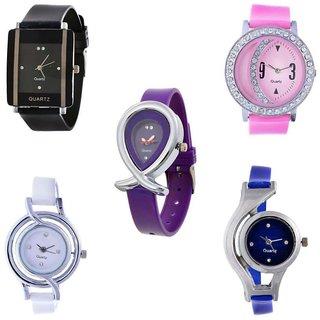 PMAXcombo of 5 multicolour analog watch for women