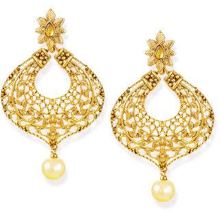 Zaveri Pearls Antique Gold-Toned Dangle & Drop Earring-ZPFK6623