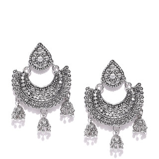 Zaveri Pearls Silver-Toned Ethnic Chandbali With Jhumki Drops Earring-ZPFK6687