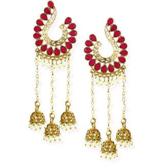 Zaveri Pearls Antique Gold Tone Dangling Jhumki Drops Earring-ZPFK6864