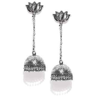 931d408c1d2 Buy Zaveri Pearls Dome Shaped Silver Tone Jhumki Drop Earring-ZPFK6541  Online - Get 75% Off