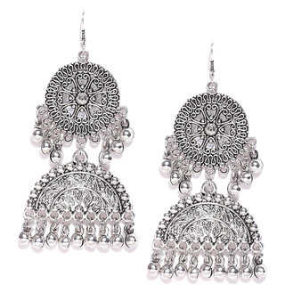 Buy Zaveri Pearls Antique Silver Tone Unique Design Dangle Earring