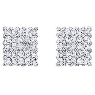 White Gold Yo yo Honey Singh Style Inspired Square Cubic Zircons cz HQ Earrings Studs