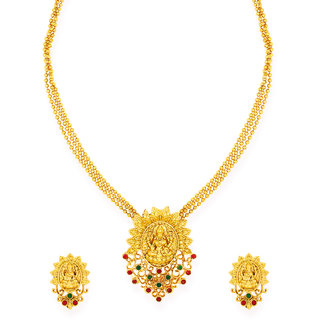 Zaveri Pearls Gold Tone Traditional Temple Necklace Set-ZPFK6852