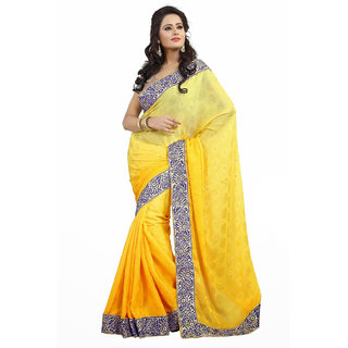 Triveni Yellow Georgette Embroidered Saree With Blouse