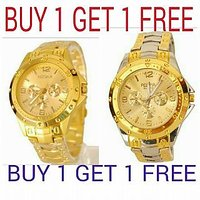 Rosra Silver Gold Watch - Buy One Get 1 Free