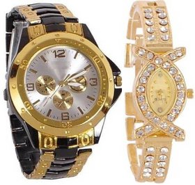 True Choice Gold Analog Watch For Couple Watch