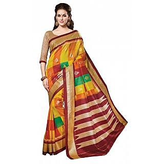 Triveni Orange Bhagalpuri Silk Printed Saree With Blouse