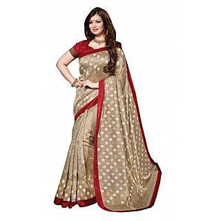 Triveni Beige Bhagalpuri Silk Printed Saree With Blouse