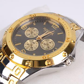 Deal of the Day offer Rosra Watch for men with Black dial Golden Watch