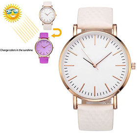 PMAX WHITE TO PURPLE Color Changing Watch  Leather Stra