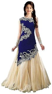New Designer Blue And Beige Colour Velvet Material Wedding, Party,And Fastival Wear Lehengha choli For Women And Girls