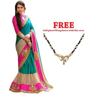 Ruchika Fashion blue Color latest Embroidered Designer party wear Collection Saree with Blouse material ( Cobra )