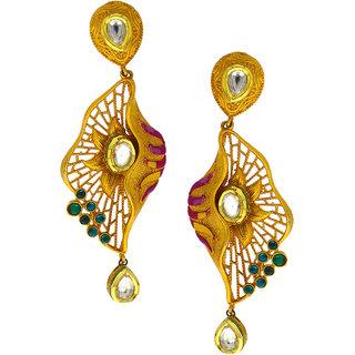 Anuradha Art Golden Finish Studded Stone Designer Long Traditional Earrings For Women/Girls