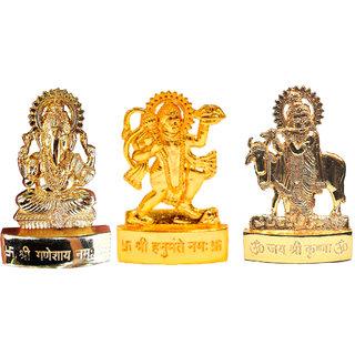Gold Plated Ganesh Hanuman Cow Krishna - 2.9 inches