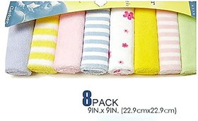 JSR BROTHERS Hosiery 8 Pcs Newborn Baby Soft Cotton Face Towels (Multicolor)
