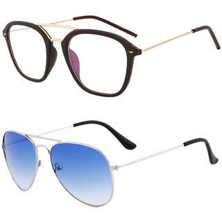 d29f52737e Buy Royal Son Transparent Square and Blue Aviator Unisex Sunglasses ...